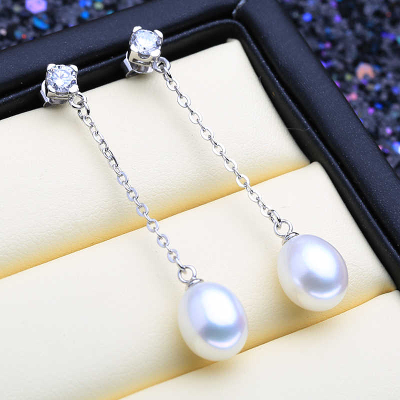 FENASY 925 sterling silver pearl jewelry sets natural freshwater pearl earrings for women with simple classic pendant necklace