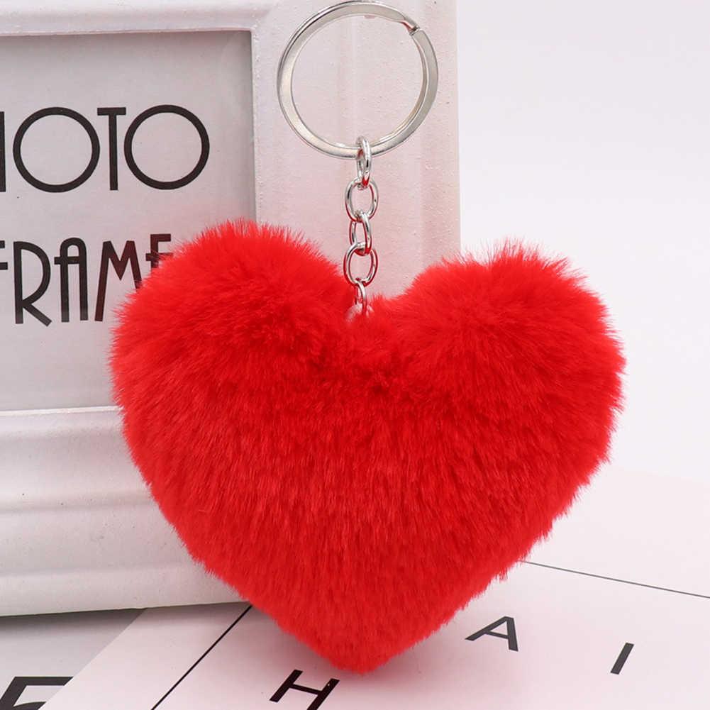 Fofo Coração Amor Anel Chave Chaveiro Pingente de Bolsa Saco Carteira Faux Fur Decor