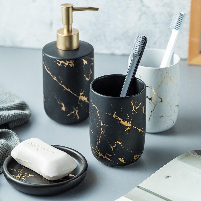 Luxus Keramik Badezimmer Zubehör Set Marmor Seife Dispenser Pumpe Flasche Hause Paar Mundwasser Tasse Seife Dish Waschen Werkzeuge