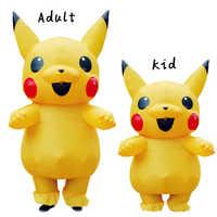 Pikachu Aufblasbare Kostüm Cosplay Kostüm Pokemon Peluche Maskottchen Kostüm für Kinder Erwachsene Halloween Kostüme für Frauen Kinder