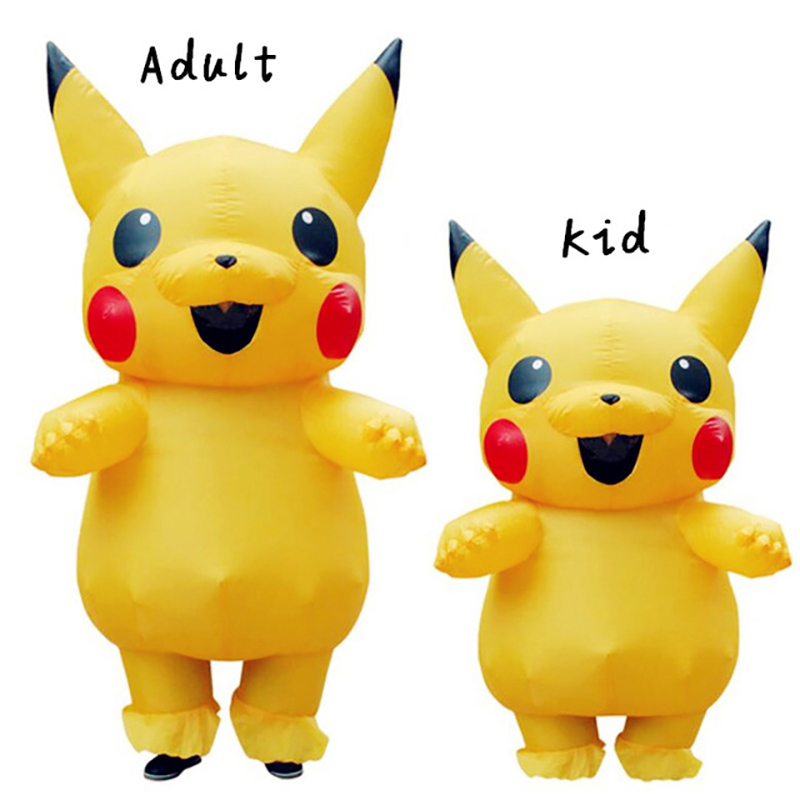 Pikachu Inflatable Costume Cosplay Costume Pokemon Peluche Mascot Costume For Kids Adults Halloween Costumes For Women Kids