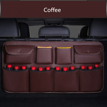 High quality leather Car Rear Seat Back Storage Bag Multi Pocket Trunk Organizer Auto Stowing Tidying Interior Accessories