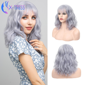 Grey Colored Synthetic Wig With Bangs Middle Part Soft Natural Wave Hair For Women Heat Resistant X-TRESS Party Cosplay Use - discount item  60% OFF Synthetic Hair