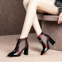 2019 New Gladiator Sandals Boots Women Mesh Pointed toes Autumn Ankle Boots Thick Heel Black Blue