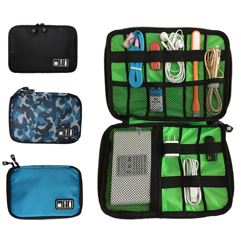 Waterproof Data Cable Storage Bag Multi-Function Digital Storage Box Storage Bags Protection Box Color : Blue