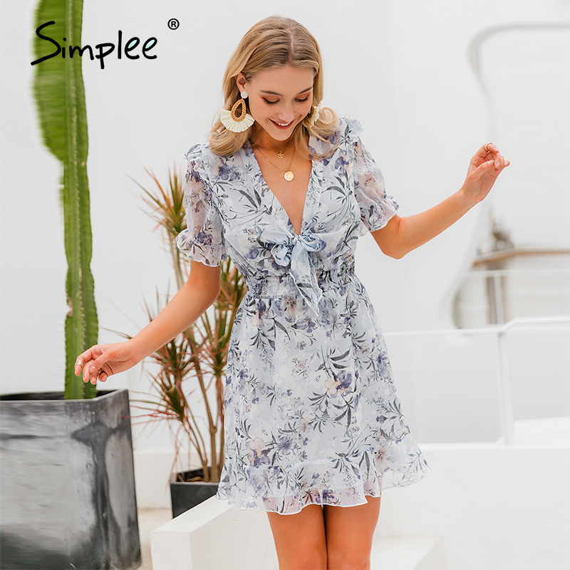 Simplee Women Floral Print Mini Dress Puff Sleeve Deep V-neck Ruffled Summer Dress Sexy Hollow Out Chiffon Holiday Boho Dress