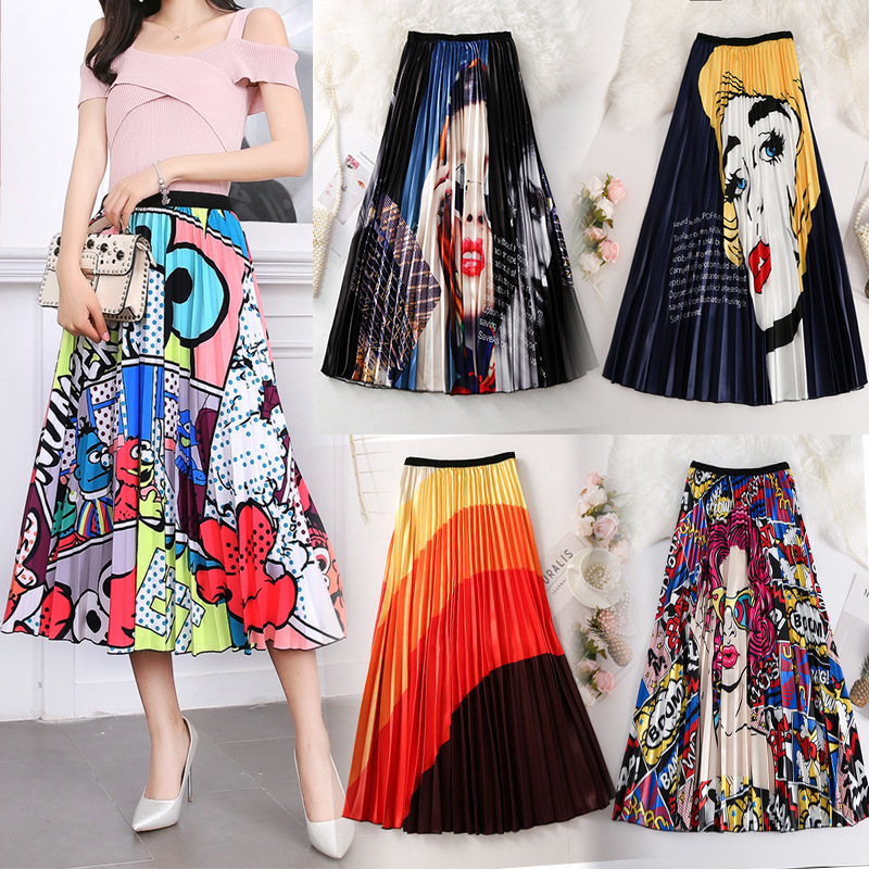 Women Skirts 20 Colors Print Flowers Pencil Maxi Pleated Tulle Skirt Summer Casual Skirts Fashion Plus Size Faldas Mujer Jupe