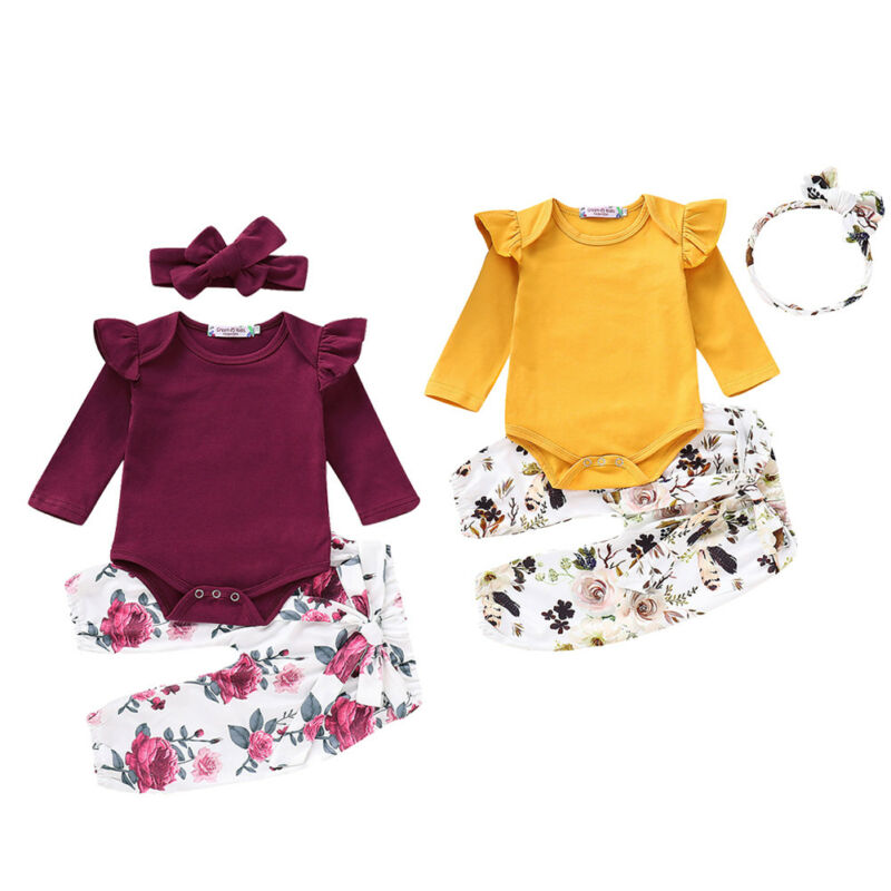 3PCS Toddler Baby Girls Clothes Romper Solid Long Sleeve Jumpsuit Floral Pants Headband 3PCS Outfits Set Clothes