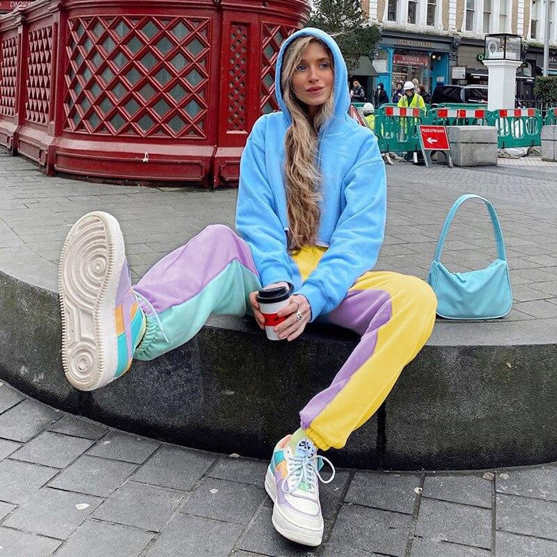 NCLAGEN Multi Color Block Jogger Pant Women Sweat Pants Casual Trousers Harem Capris New High Waist Streetwear Woman Sweatpants