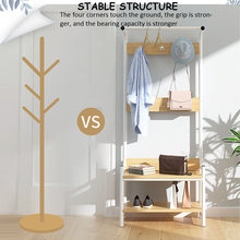 3-in-1-Design Hall-Tree-Entryway-Organizer-Storage-Shelf-Free-Standing-Wood-Accent-with-Metal-Hooks-and-Frame-2-Tier-(China)
