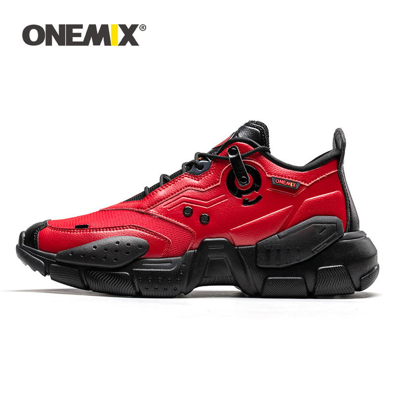 ONEMIX Men Sneakers Technology Style Leather Damping Comfortable Men Red Sport Running Shoes For Women Platform Retro Dad Shoes