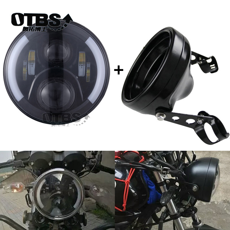 7inch 60W Motorcycle Headlamp With DRL halo Led Headlight 7 Inch Housing Bucket Trim Ring For Dyna Iron 883 Honda Yamaha KAWASAK