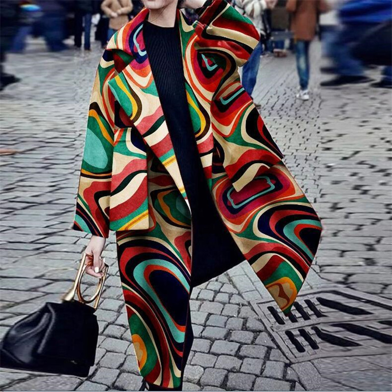 Winter Colorful Print Coat For Women 2019 Fashion Geometric Print Long Loose Overcoat Femma Long Sleeved Open Stitch Coats