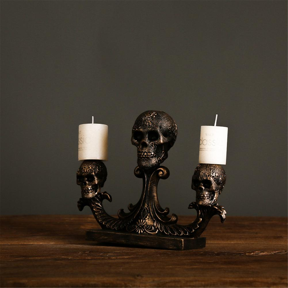 Skeleton Head Statues Resin Halloween Decorative Gothic Candlestick for Halloween Party Ornament House Decor Dropship