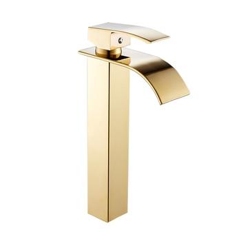 Bathroom Basin Faucet Deck Mount Waterfall Bathroom Faucet Vanity Vessel Sinks Mixer Tap Single Handle Cold And Hot Water Tap 7