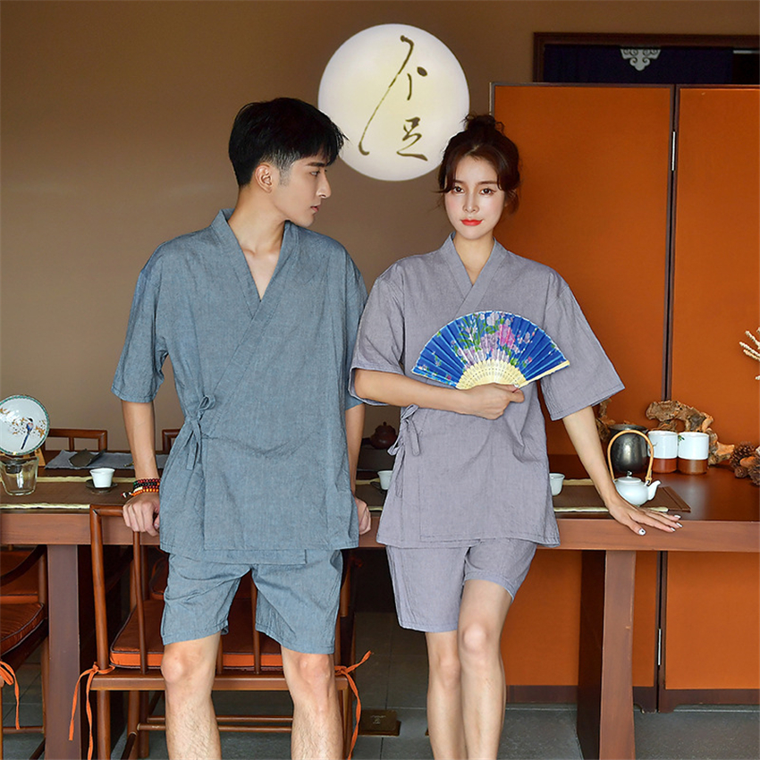 Man Woman Traditional Japanese Kimono Yukata Pajama Sets Sleepwear 100% Cotton Solid Bathrobe Nightgown Lover Leisure Wear