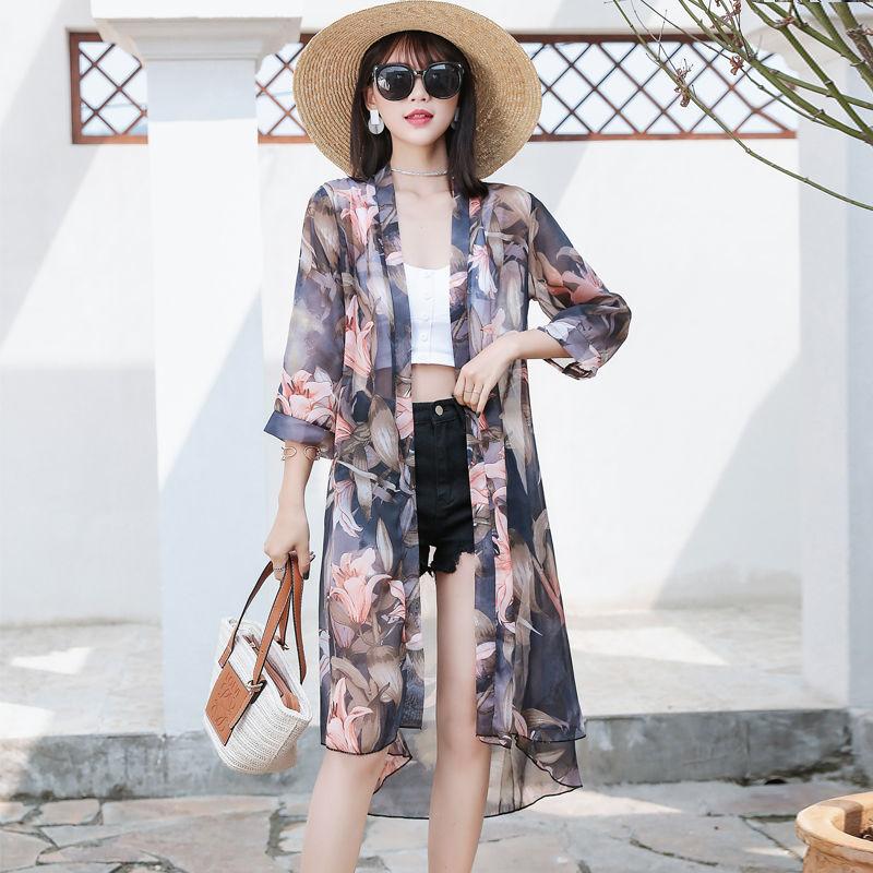 Summer Sunproof Cardigan Fashion Women Chiffon Bikini Cover Up Kimono Cardigan Coat Bathing Women Blouses