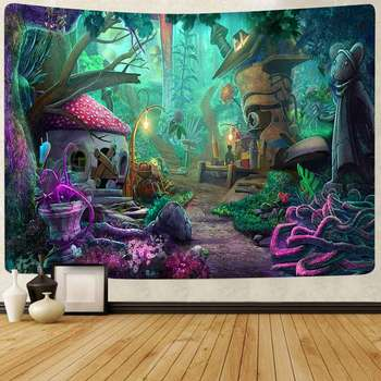 Simsant Psychedelic Shrooms Tapestry Colorful Abstract Trippy Tapestry Wall Hanging Tapestries for Home Dorm Fantasy Decor 44