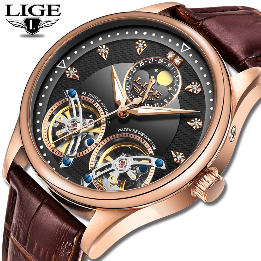 LIGE Men's watches Mens Watches top brand luxury Automatic mechanical sport watch men wirstwatch Tourbillon Reloj hombres 2019|Mechanical Watches| |  - title=