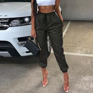 Women Faux Leather High Waist Pants Jogging Bottoms Ladies Casual Pants Cargo Joggers Streetwear Trousers Female Sweatpants