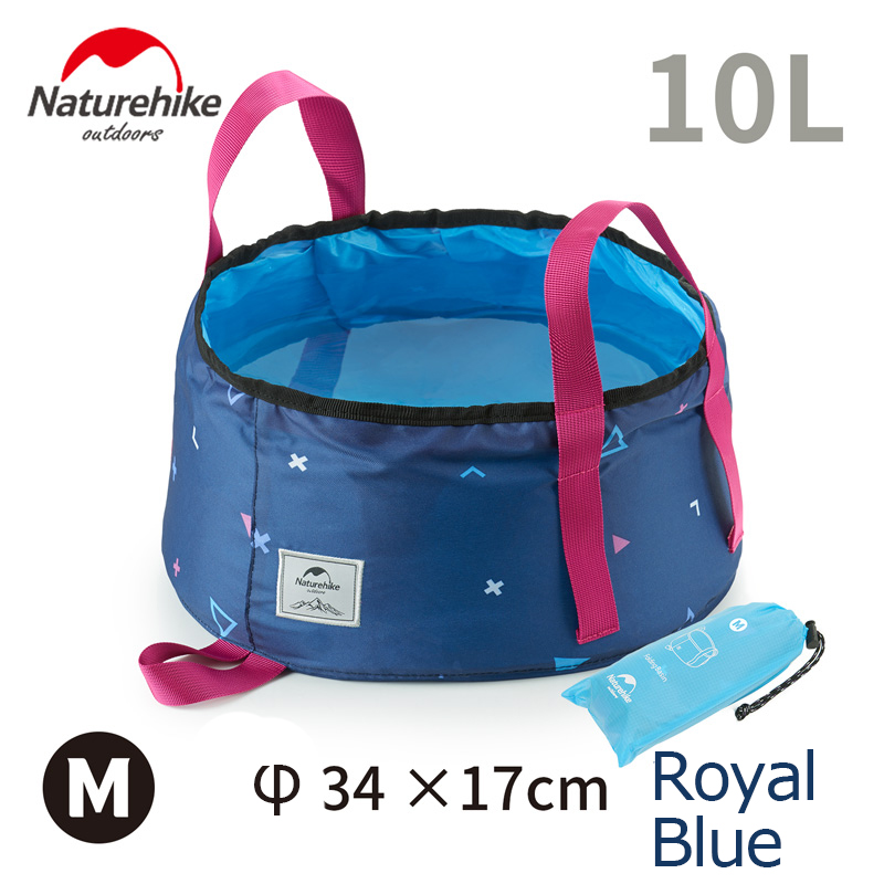 Folding Foldable Water Pot Bags Washbasin Bucket Wash Basin Camping 10L Blue
