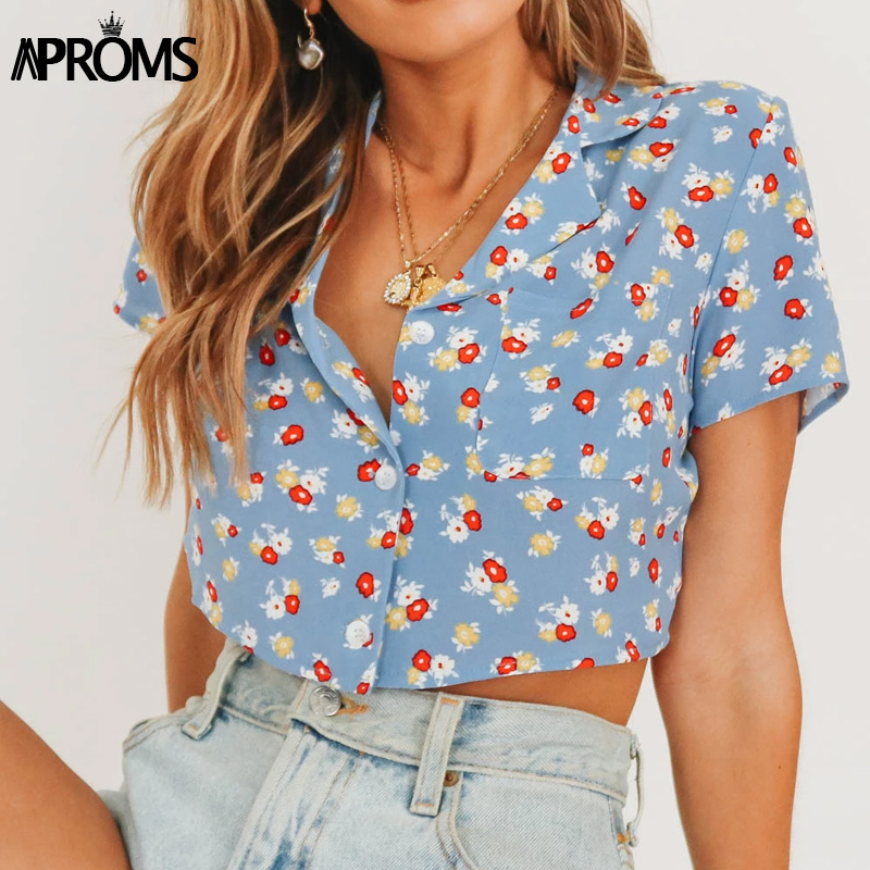Aproms Sweet Yellow Red Floral Print Short Blouse Women Casual Pockets Buttons Short Sleeve Cropped Shirt Ladies Summer Top 2020