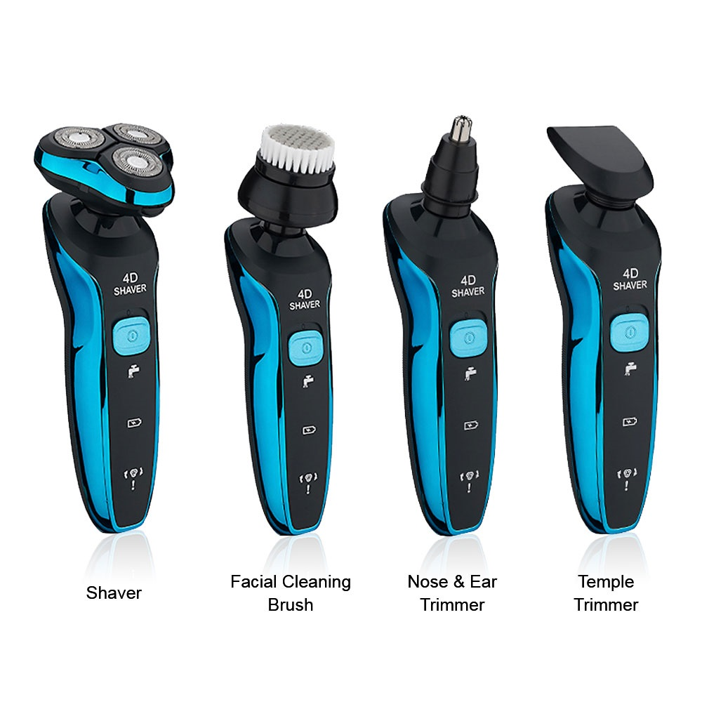 Electric Shavers Shaving Machine 4 in 1 Beard Razors 4D 3 Blades Nose Hair Trimmer Clipper Rechargeable for Men's Face USB Sex