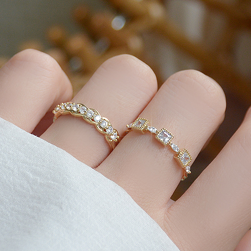 14K Real Gold Luxury Micro Inlaid CZ Ring Adjustable Fashion Open Design AAA Zircon Noble Wedding Engagement Bague Jewelry