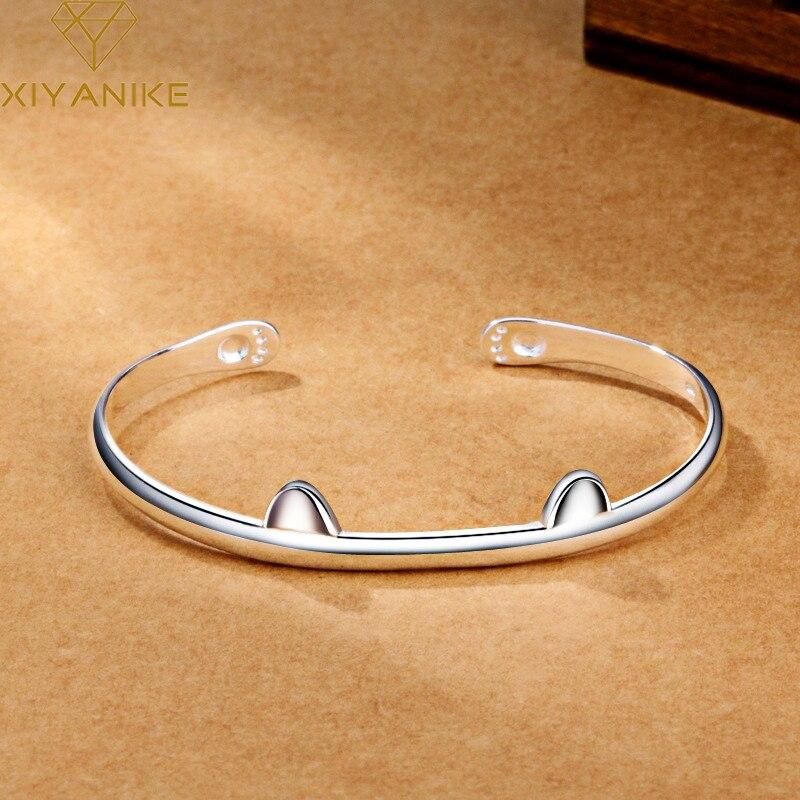 XIYANIKE 925 Sterling Silber Koreanischen Stil Nette Katze Eröffnung Armband Mode Charming Schmuck Für Frauen Jahrestag Geschenk