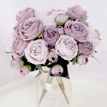 Tea Rose Peony Artificial-Flowers Wedding-Decoration 1-Bouquet Silk Living-Room Garden