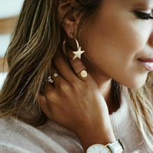 Simple Trendy Gold Color Geometric star Earrings Lady Fashion Large Hollow drop Earrings set Jewelry Boucle D'oreille Femme 2019 gold color with star hotpink butterfly star drop earrings