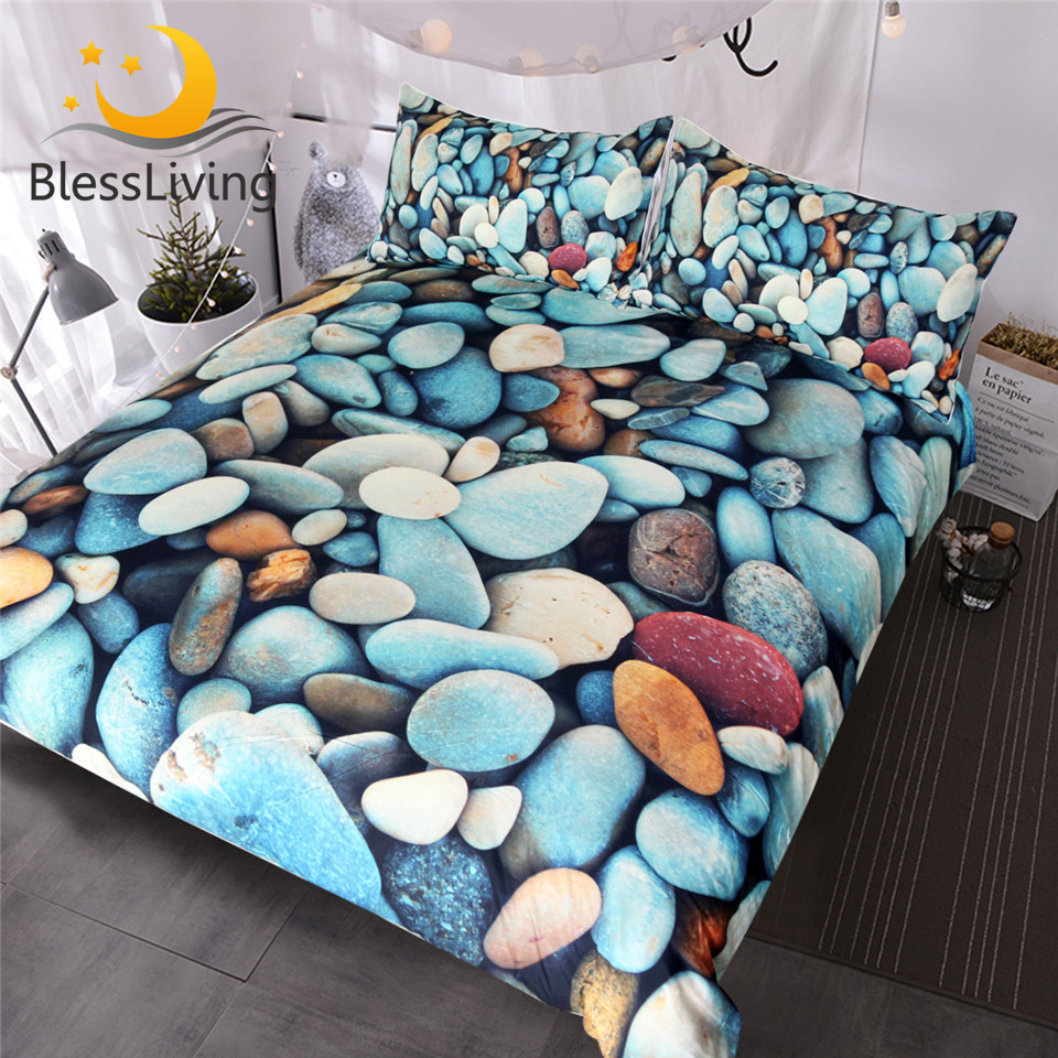 BlessLiving Beach Stones Bedding Set 3 Piece Colorful Duvet Cover 3D Printed Vivid Bed Set Rock Blue Red Orange Bedspreads