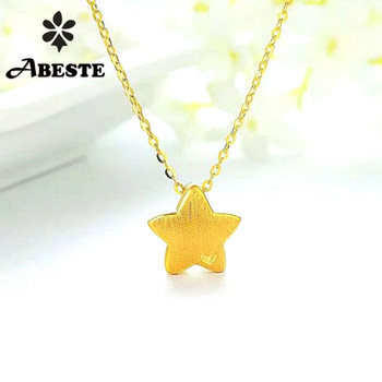 ANI 18K Au750 Solid Yellow Gold Chain Women Engagement Necklace Mini Style Birthday Gift Star Shape Fashion 24k Pendant