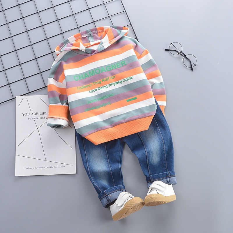 Neue Kleinkind Junge Mädchen Baumwolle Kleidung Frühling Herbst Kinder Gestreiften Buchstaben Mit Kapuze Hosen 2 teile/sätze Kleinkind Kids Fashion Trainingsanzüge