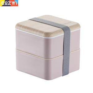 Image 1 - Plastic Lunch box On the Go Packing Lunchbox With Spoon Chopsticks Double Layer Portable Bento Box Food Container