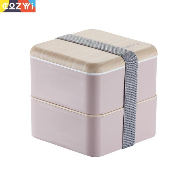Plastic Lunch box On the Go Packing Lunchbox With Spoon Chopsticks Double Layer Portable Bento Box Food Container
