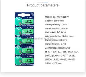 Image 2 - 5pc Sony 100% מקורי 377 SR626SW SR626 AG4 1.55V כסף אוקסיד SR626SW 377 כפתור לחצן תוצרת יפן