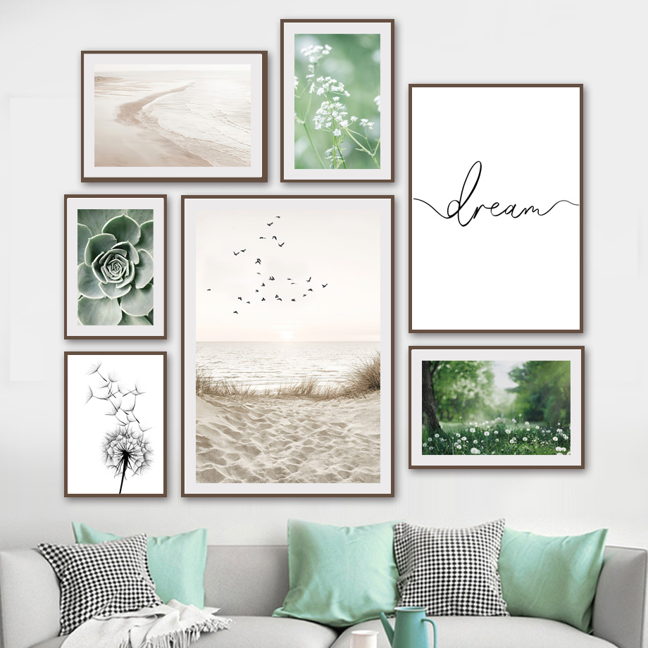 Bird Beach Grass Dandelion Cactus Flower Calm Waves Nordic Poster Wall Art Print Canvas Painting Decor Pictures For Living Room