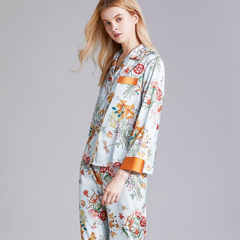 Womens Silk Satin Pajamas Pyjamas Set Long Sleeve Sleepwear Flower Pijama Suit Female Sleep Two Piece Set Loungewear Plus Size