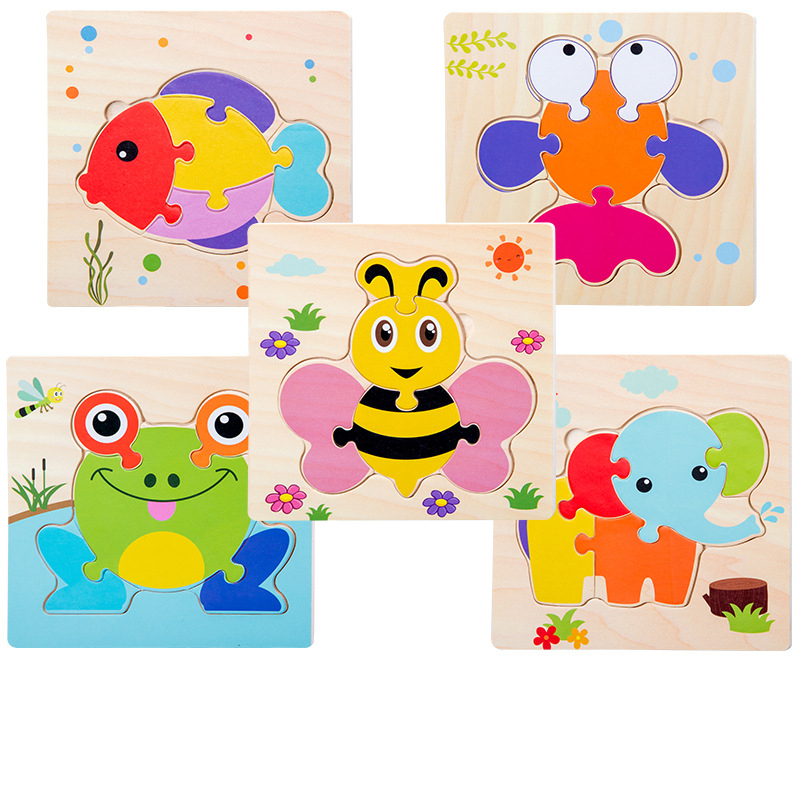 Montessori Games Baby Aniamls/traffic KidS Cognition Puzzles ToyS Wooden Cartoon Cognition Puzzle Toys Matching Education Game