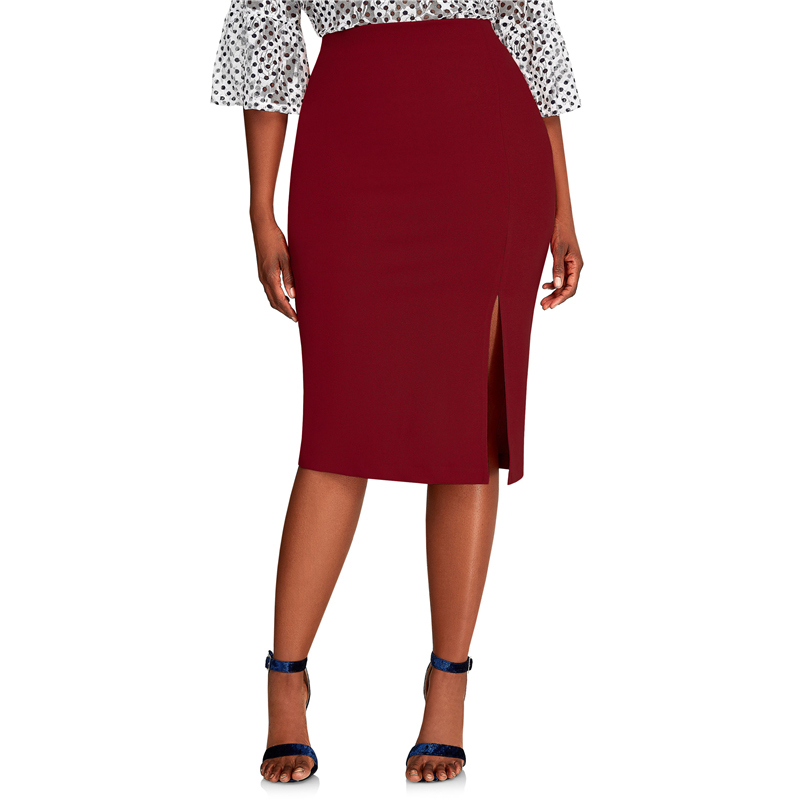 CACNCUT Big Size High Waist Bag Thigh Skirt Business Casual Skirt For Women 2019 Plus Size Bodycon Pencil Office Skirt Black 6XL 39