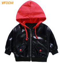 VFOCHI 2019 Boy Girl Leather Jacket Autumn Hooded Kids Children Clothing Unisex Winter Outwear