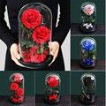 Сушеные цветы Красавица и чудовище, свежие красные вечные розы в стеклянном куполе, подарки на день Святого Валентина, рождественские украш...