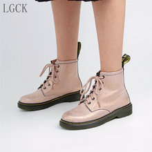 цена на Plus Size 34-43 Genuine Leather Women Shoes Martin Boot Fashion Winter Warm Female Motorcycle Ankle Snow Boots for Woman Botas