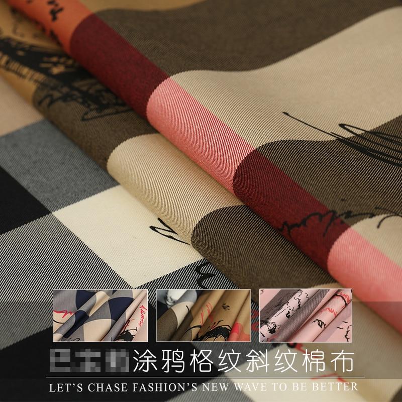 Spring&summer New 140cm Wide Plaid Digital Printed Fabric for Shirt Dress Fashion Cloth Diy Sewing Free Shipping Sale Hot