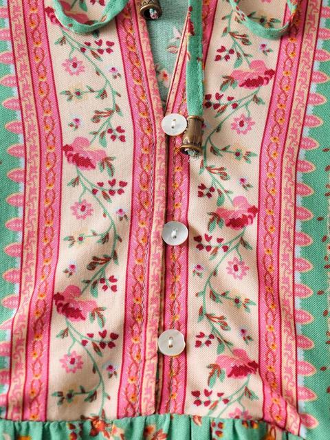 2020 BOHO Lacing up Collar Floral Print Pullover Shirt Women Elastic Waist Maxi Long Skirt Pink Holiday 2 Pieces Set 4