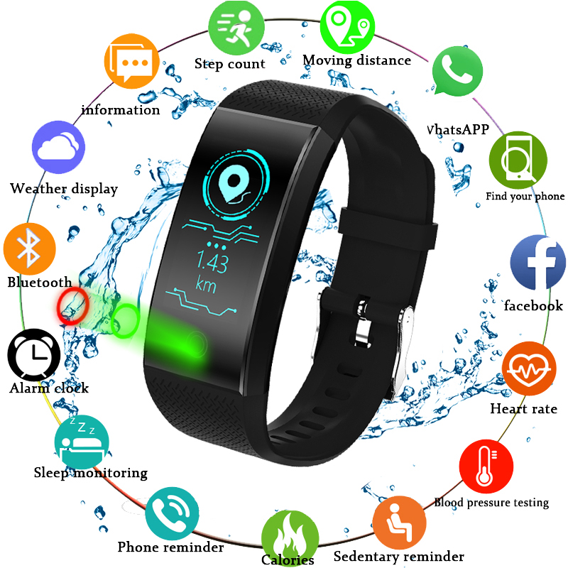 QW18 Bluetooth Smart Band Color Screen Waterproof Man and Women Smartband Fitness Heart Rate Monitor Sports Passometer Bracelet