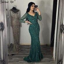 Decote em v sexy dubai vestidos de baile 2019 mangas compridas contas lantejoulas sereia vestidos formais sereno colina dla6010