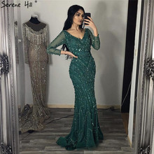 V Neck Sexy Dubai Prom Dresses 2019 Long Sleeves Beads Sequins Mermaid Formal Gowns Serene Hill DLA6010