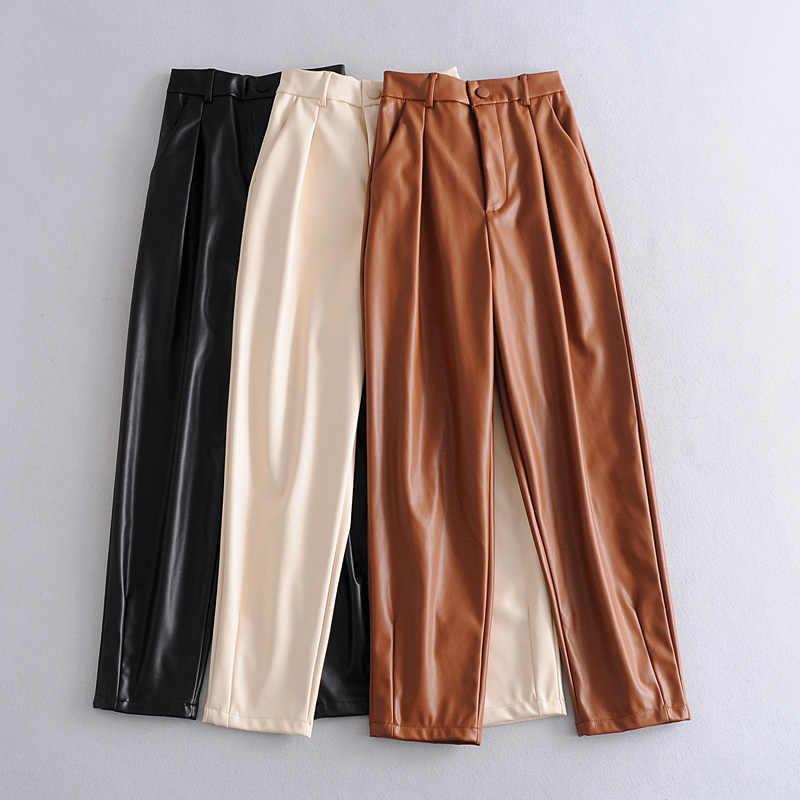 Pantalones De Talle Alto De Piel Sintetica Para Mujer Pantalon Holgado Elegante Con Bolsillos Color Caqui 2021 Pantalones Y Pantalones Capri Aliexpress